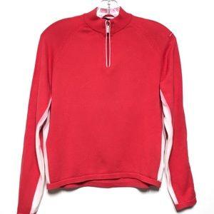 Burberry Golf Quarter Zip Striped Red Sweater L